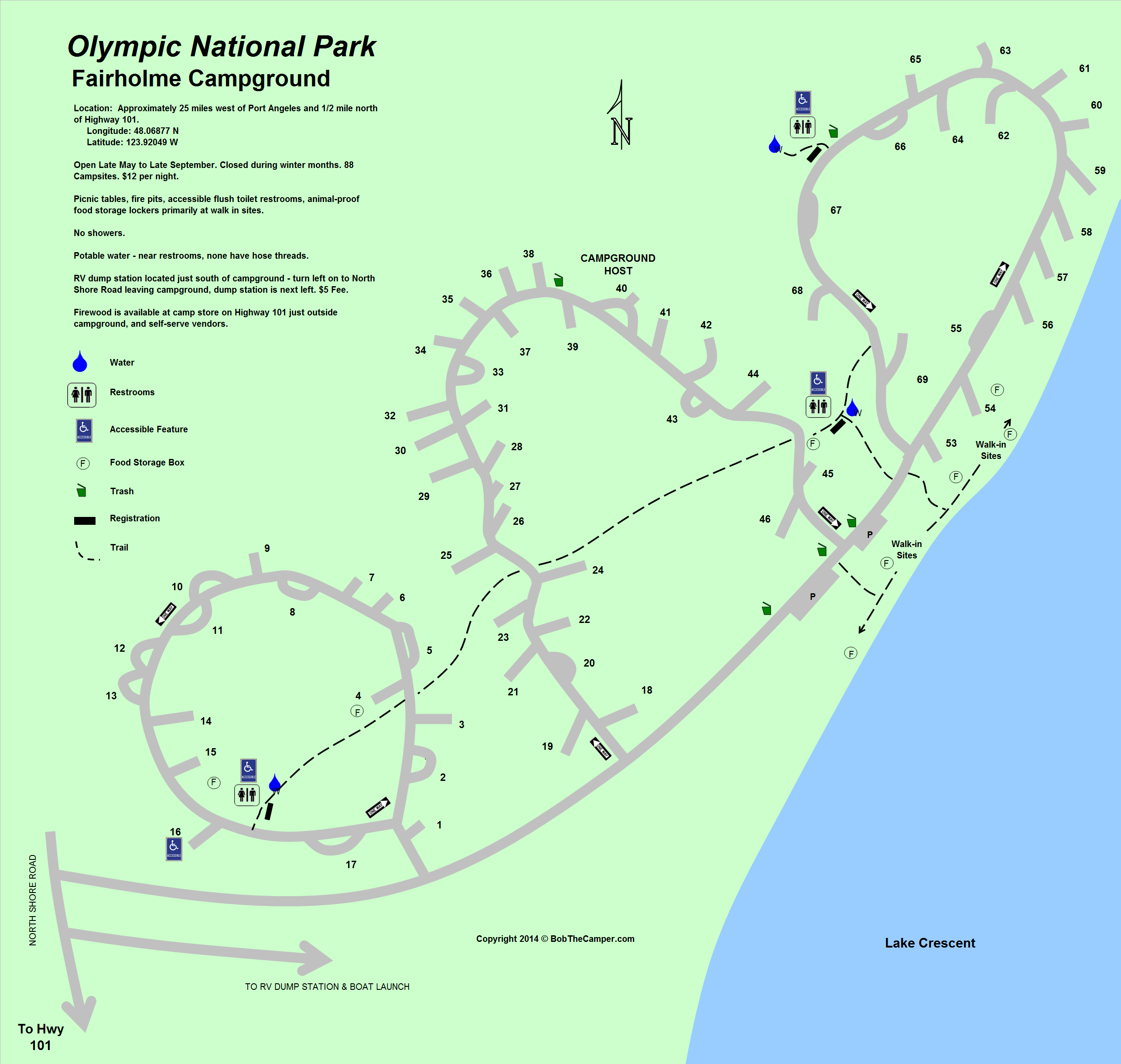 Fairholme Campground Map Olympic National Park