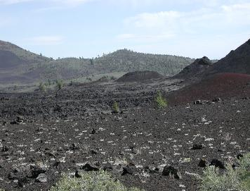 Craters of the Moon landscape with Cinder Cones and lava flow