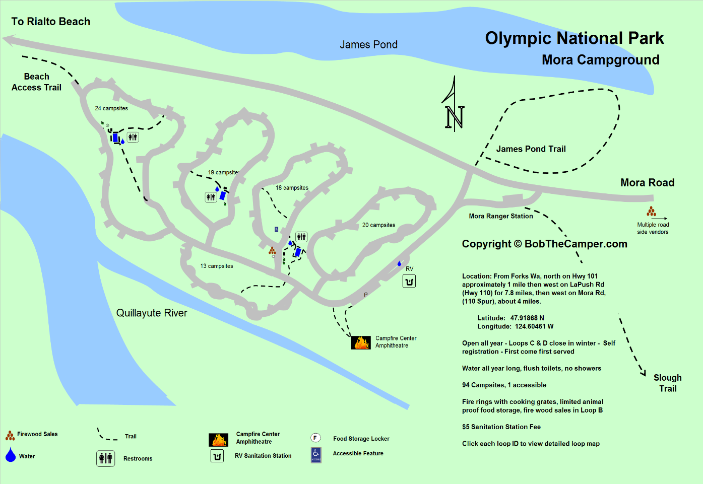 Mora Campground Map - Rialto Beach -  Olympic National Park