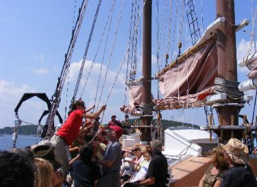 Raising the Sails on-board the Margaret Todd